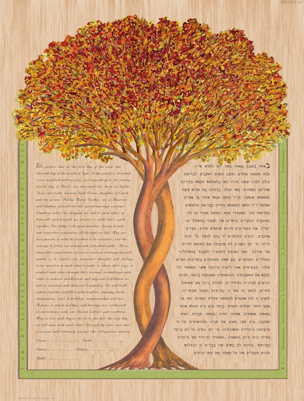 Intertwining-Tree-Ketubah-Print-Fall-Maple-Wood