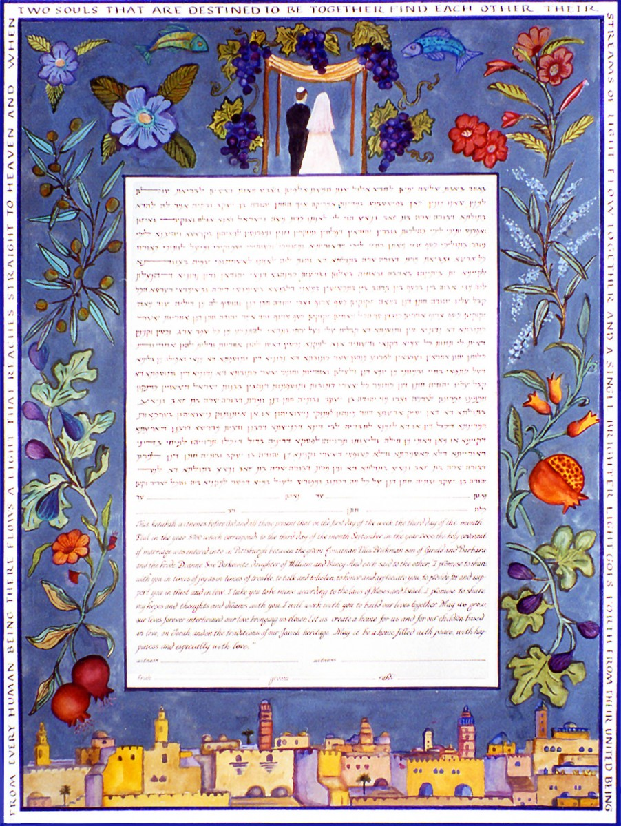 Animals in ketubah art - 2 leaping fish-couple under chuppah-pomegranates, figs, grapes, olives, Jerusalem