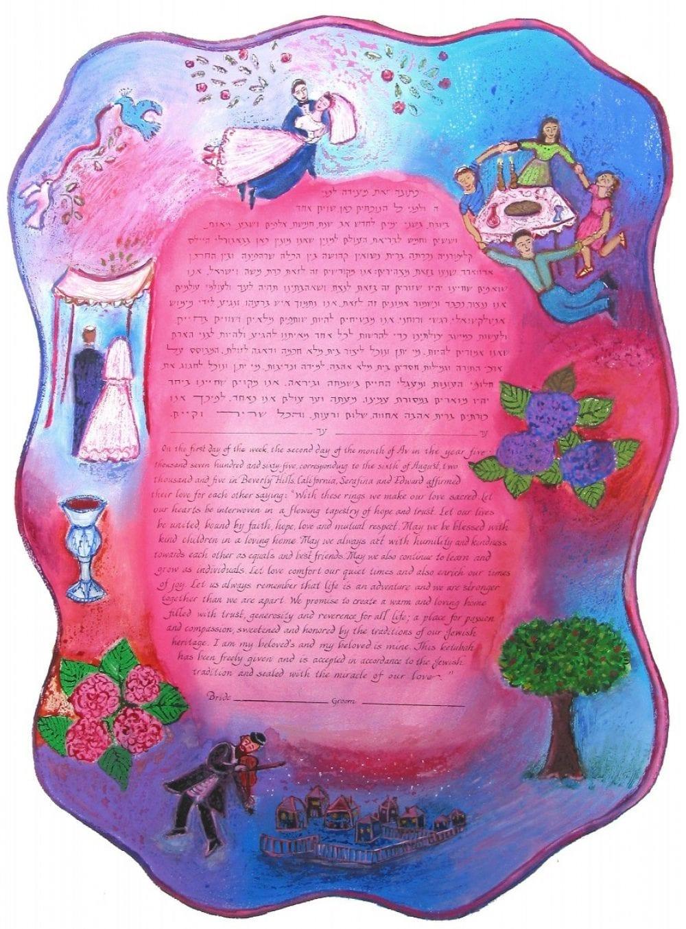 Pink-Chagall-Ketubah