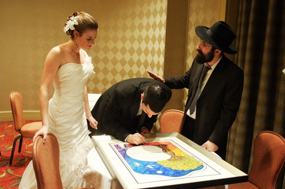 ketubah-signing-ceremony with Stained Glass Circle Ketubah print