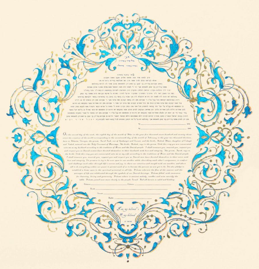 Customized-Turquoise-Arabesque-Print
