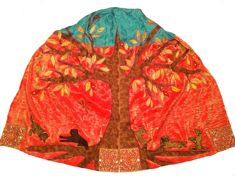 custom tallit - 5 beagle dogs with Tree of Life