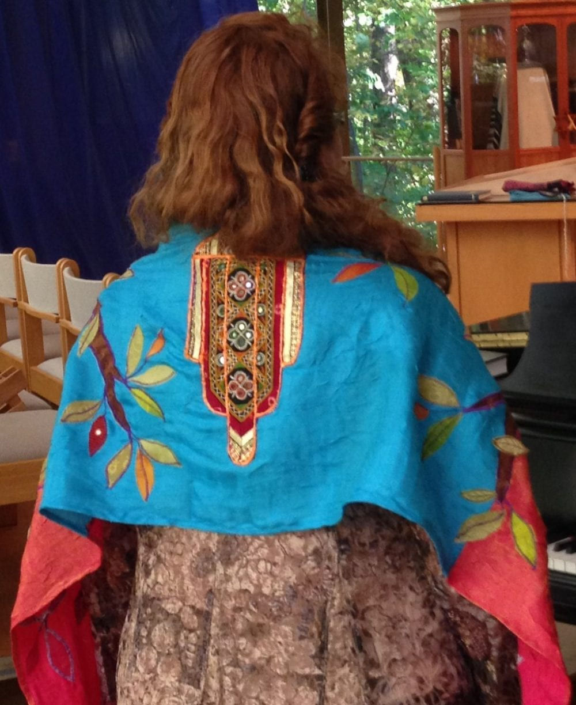Custom Tallit - back view Hamsa