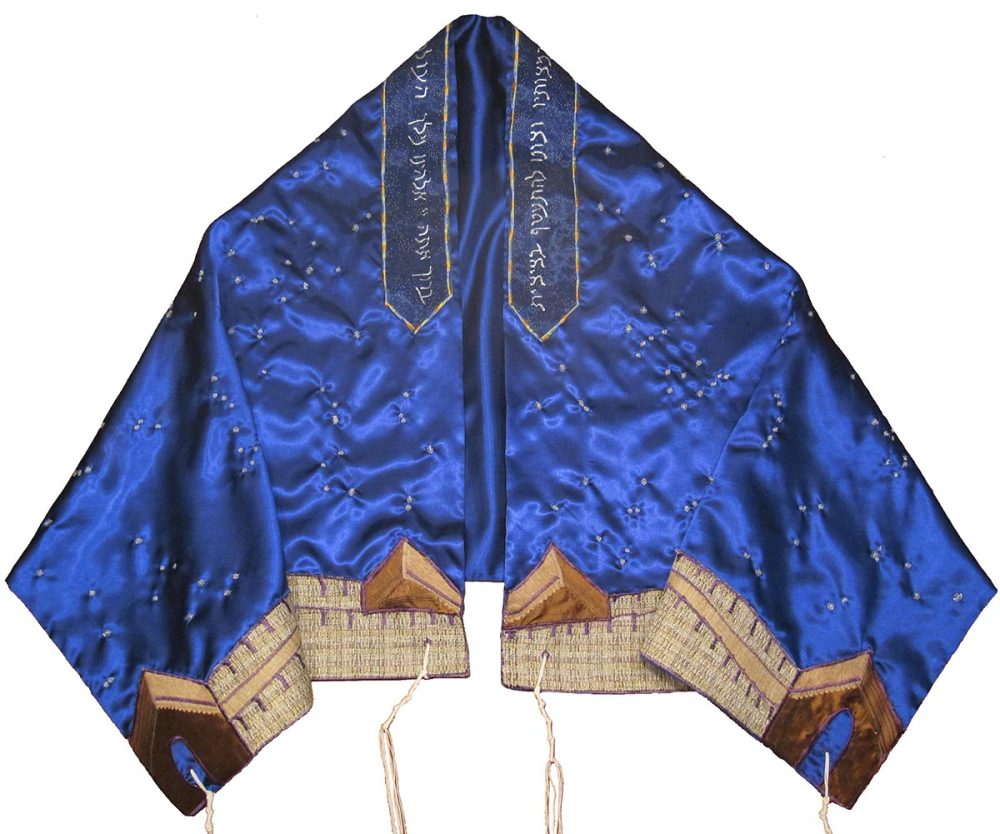 custom blue tallit with Great Wall of China