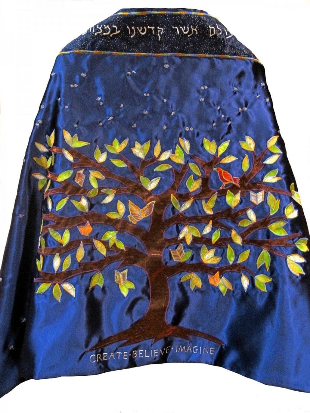 Custom blue talli with Tree of Life appliqué