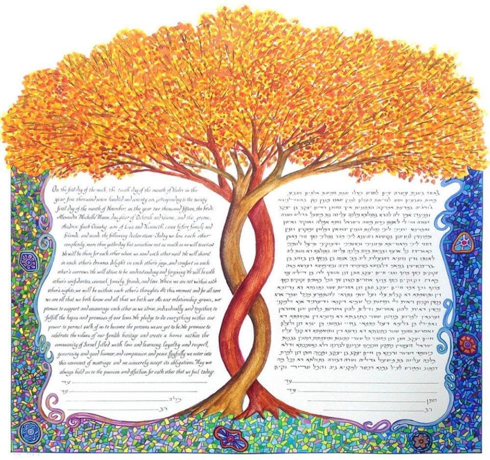 Fall-Tree-Mosaic-Border-Ketubah
