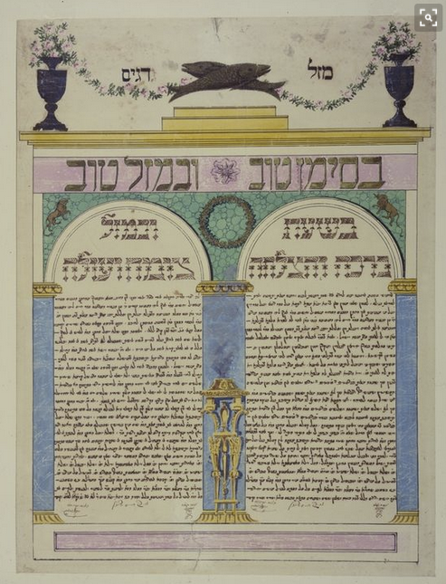 Animals in ketubah art - ketubah Vienna Austria 1831 2 fish