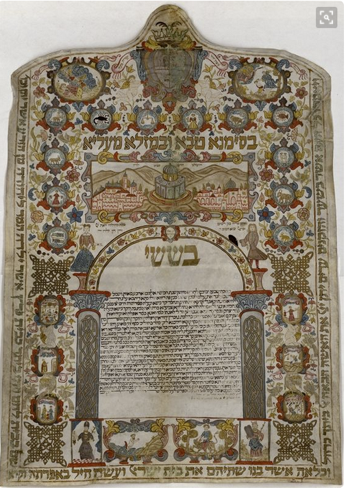 Animals in ketubah art--Ketubah Rivarolo Italy 1774 zodiac signs above text