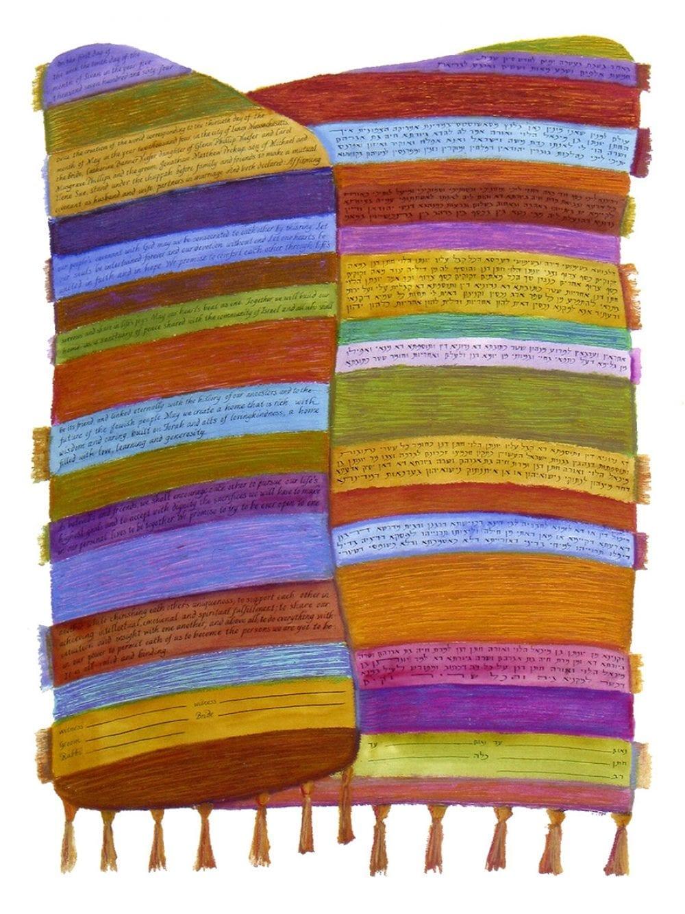 2-sided-orange-blue-tallit-weaving-ketubah