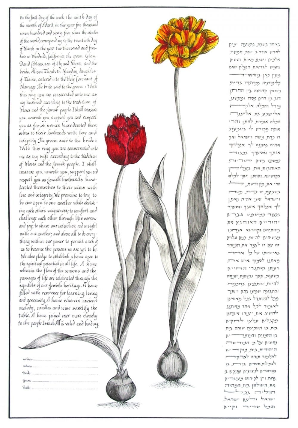 botanical-striped-tulip-ketubah