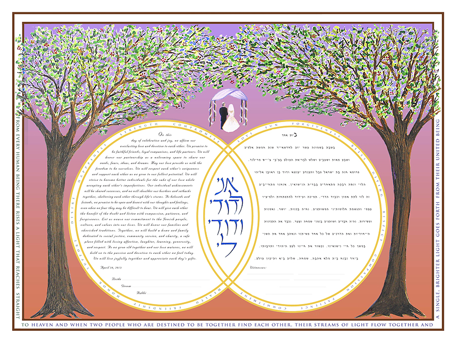 Double-Ring-Ketubah-Print-Sunset