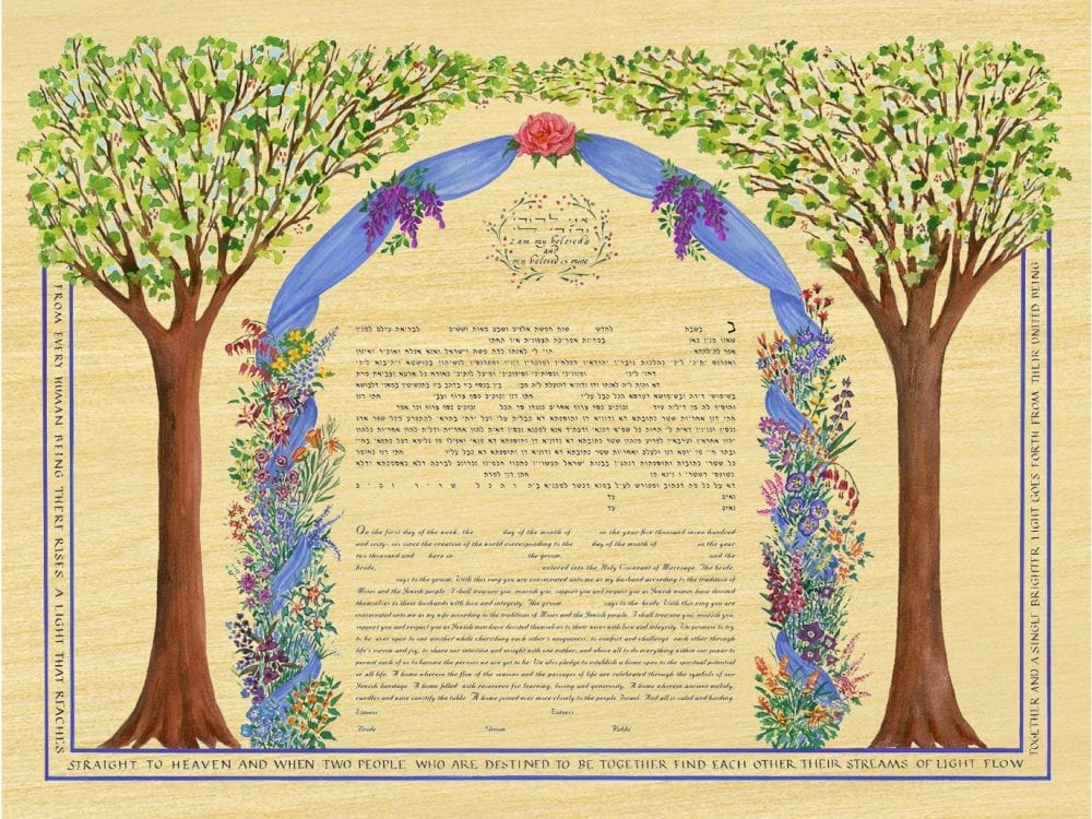 Chuppah Ketubah Print on Maple Wood Panel