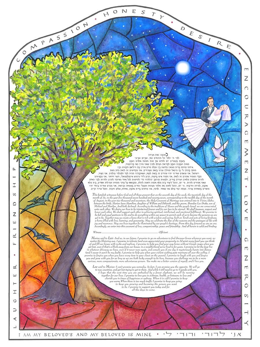 Pterodactyl-Customized-Circle-Stained-Glass-Ketubah-print