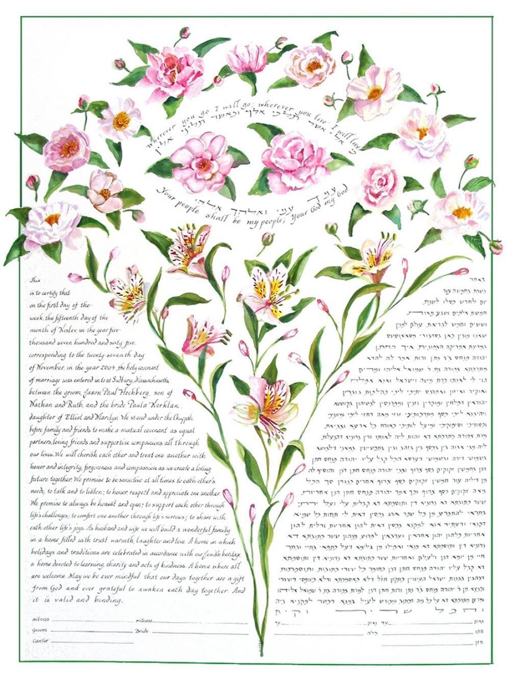 tea-rose-bouquet-ketubah