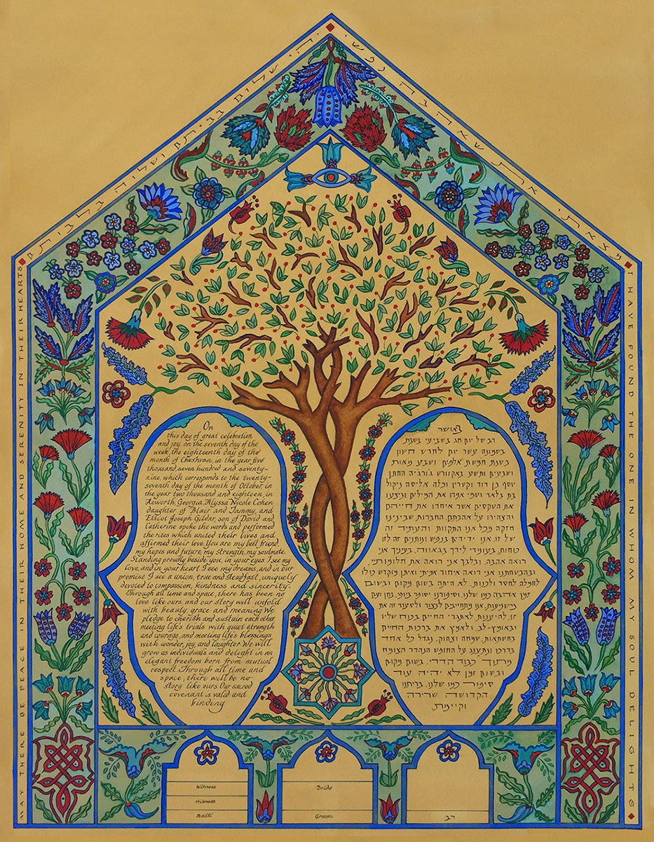 tea-stained-iznik-tile-custom-ketubah