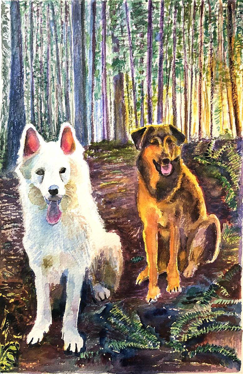 Dog portrait watercolor