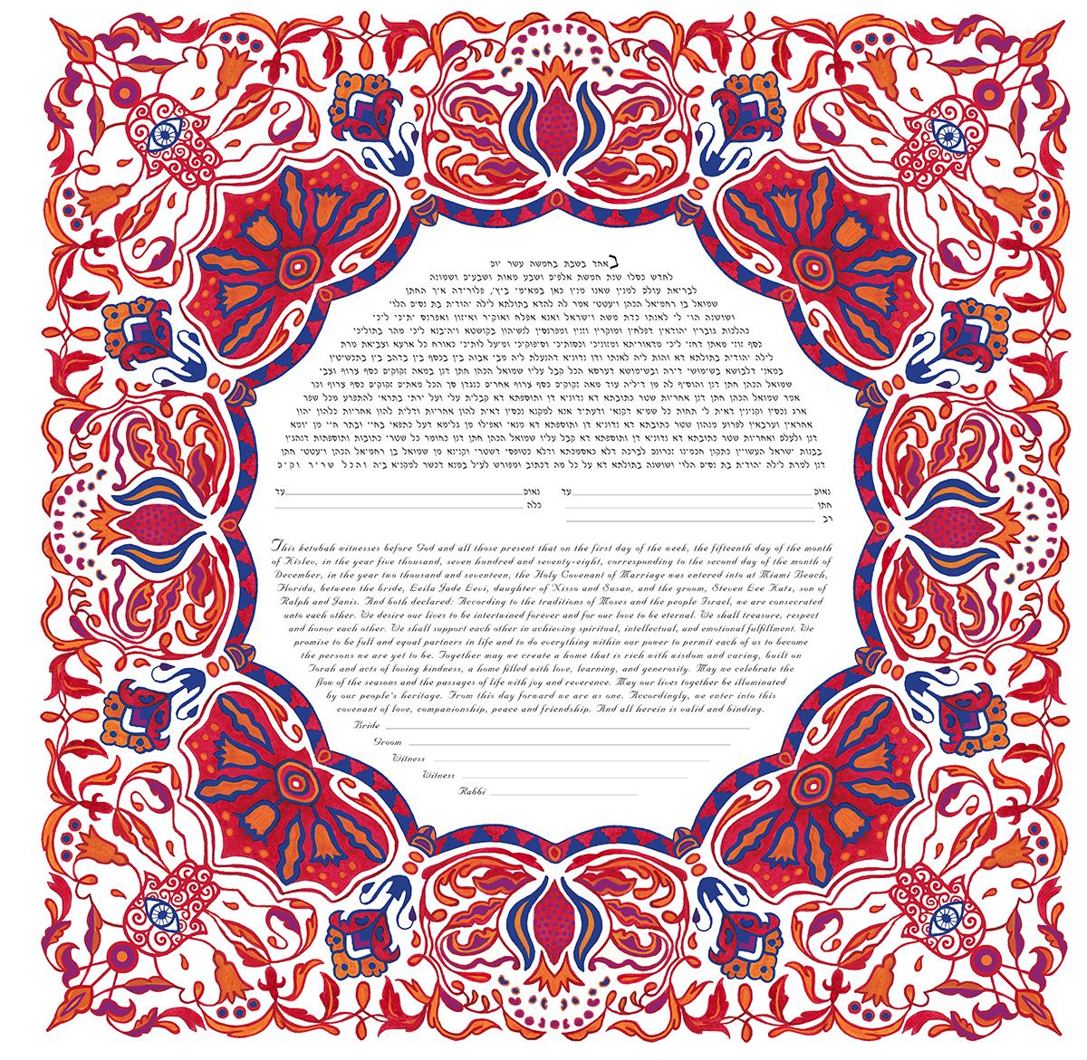 Pomegranate Ketubah Print Variation