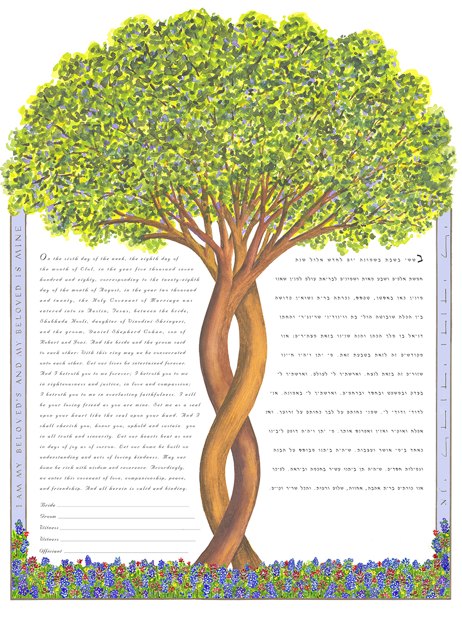 Intertwining Tree ketubah with blue bonnets