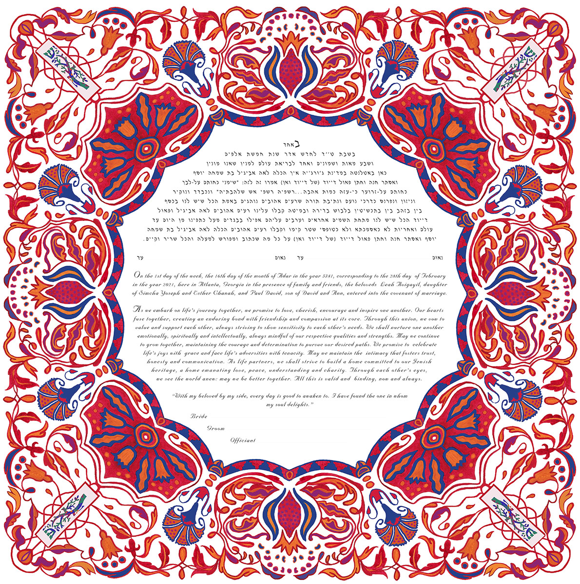 Pomegranate Ketubah Print with Mezuzahs