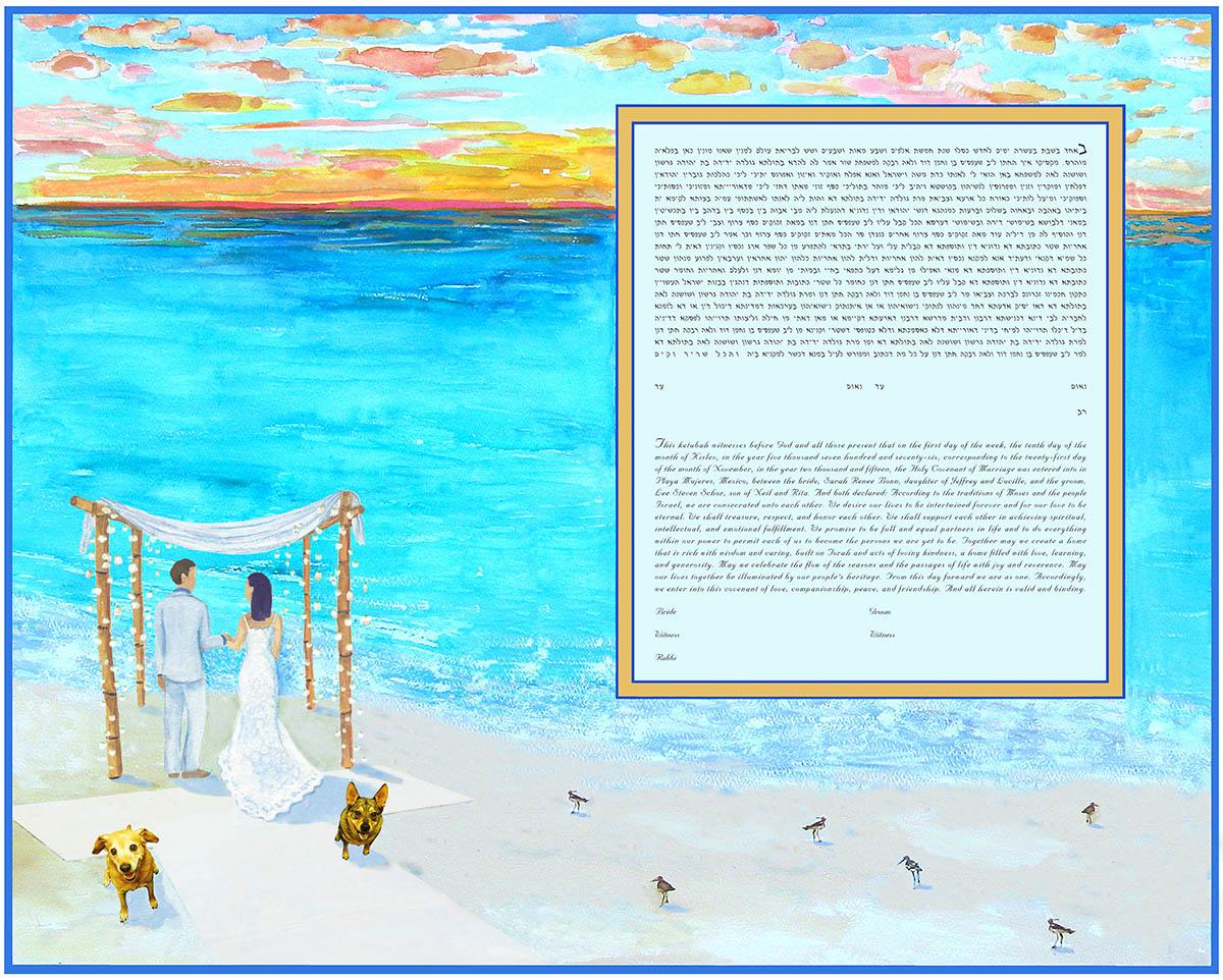 Beach Ketubah 2 Dogs Giclee Print