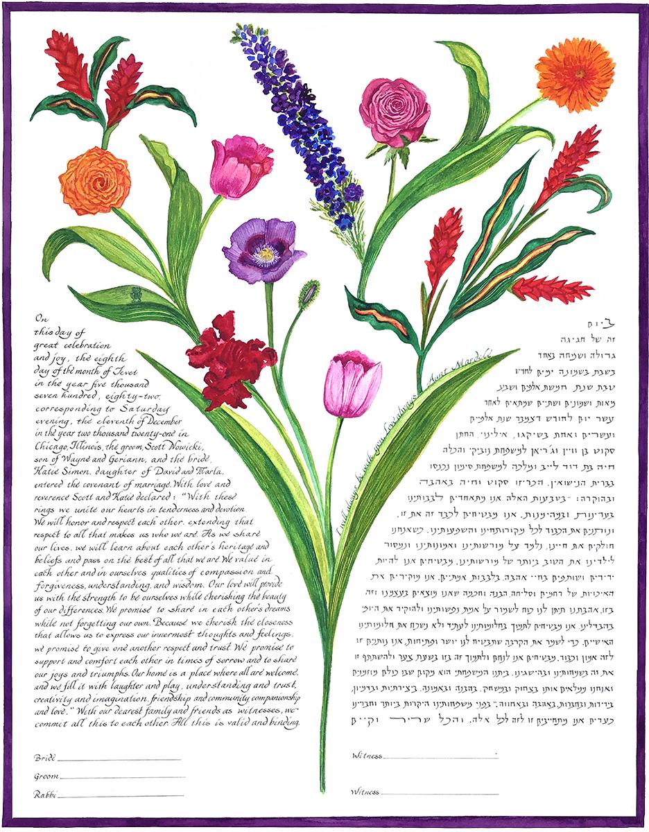 Delphinium Bouquet Ketubah