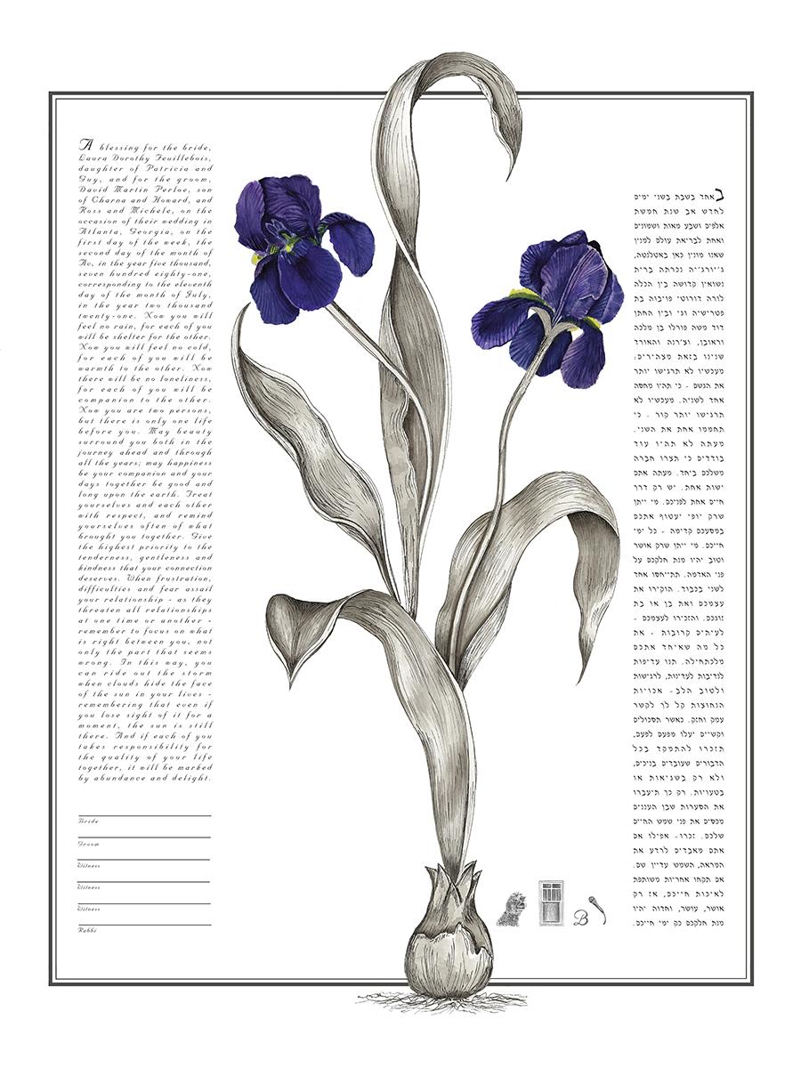 Iris Botanical Ketubah Print